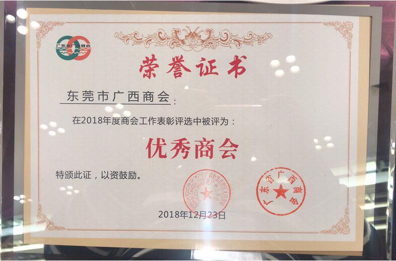 2018年优秀商会荣誉证书